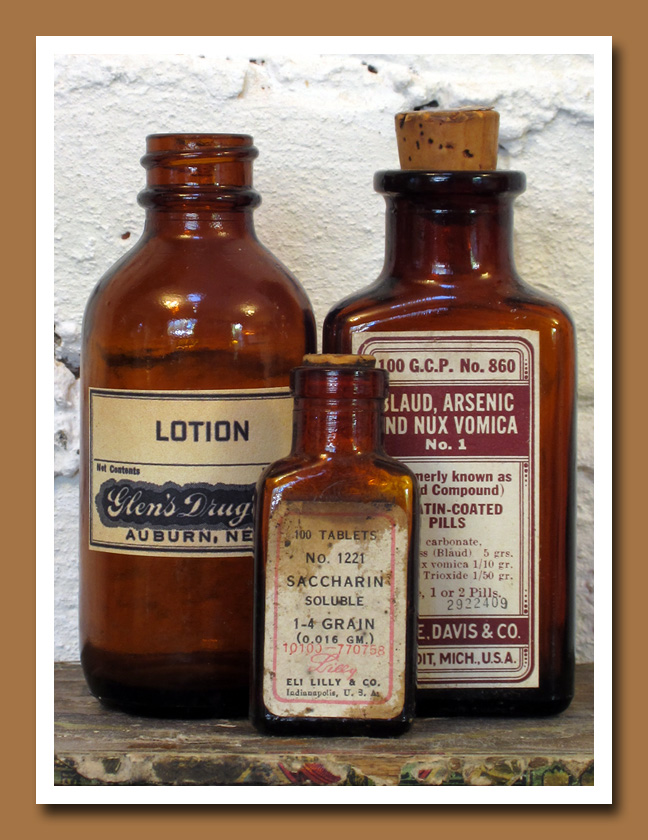 Vintage Amber Pharmacy Bottles 2