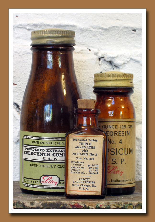 Vintage Amber Pharmacy Bottles 3