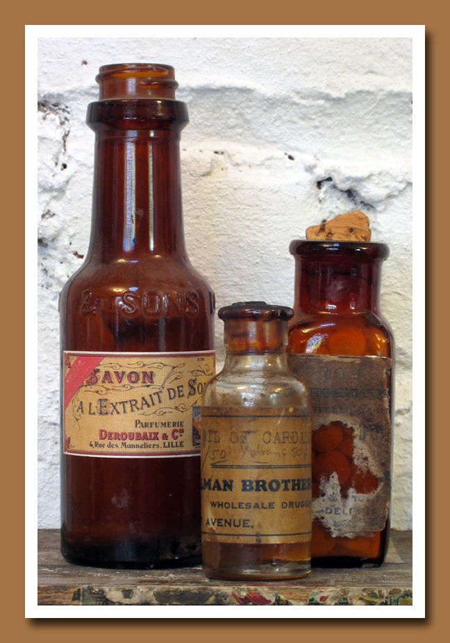 Vintage Amber Pharmacy Bottles 4